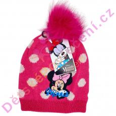 Růžová zimní čepice Disney Minnie s bambulí