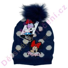 Tmavá zimní čepice Disney Minnie s bambulí