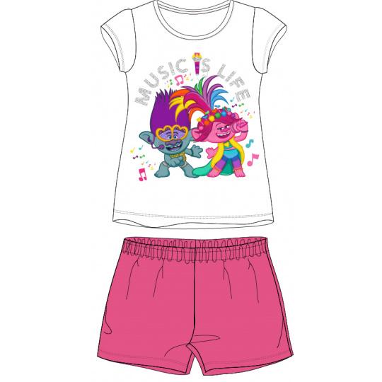 Dětské pyžamo trollové s růžovými kraťasy 98-128
