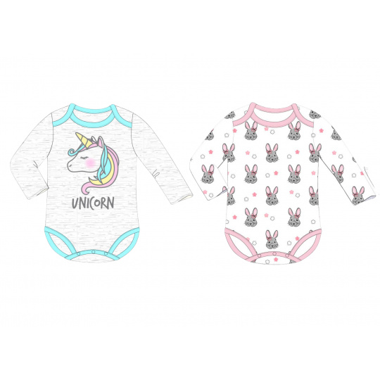 Dívčí kojenecký body set Jednorožec a Králíček 68-86